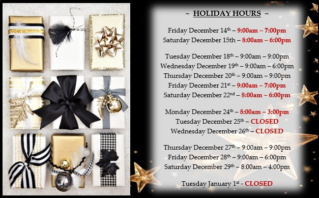 HOLIDAY HOURS 2018-REVISED